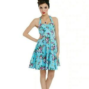 Hell Bunny Vixen Turquoise Floral Halter Dress